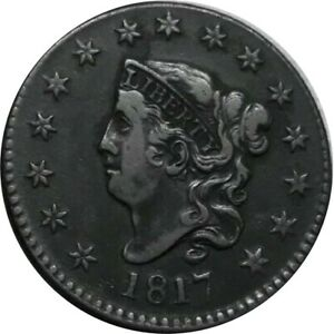 1817 1C CORONET LARGE CENT WITH 15 STARS ENGRAVING ERROR   NEWCOMB 16