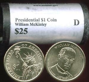 HEAD/TAIL  2013 D MINT WILLIAM MCKINLEY PRESIDENTIAL $25 DOLLAR ROLL FREE SHIP