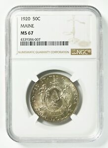 Click now to see the BUY IT NOW Price! 1920 MAINE CENTENNIAL COMMEM SILVER HALF DOLLAR NGC MS67 WOW REGISTRY COIN