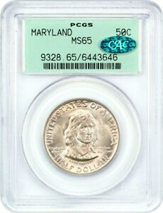 1934 MARYLAND 50C PCGS/CAC MS65  OGH    SILVER CLASSIC COMMEMORATIVE