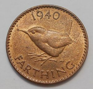 1940 GREAT BRITAIN FARTHING CHOICE MS UNC   BEAUTIFUL WWII GEORGE VI BRONZE COIN