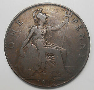 1912 H GREAT BRITAIN PENNY VG   HEATON MINT KEY GEORGE V UK BRONZE COIN