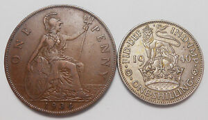 1934 GREAT BRITAIN PENNY & 1940 SHILLING VF HIGH GRADE UK SILVER/BRONZE COIN LOT