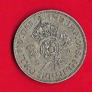 SILVER TWO SHILLINGS 1940  UK GREAT BRITAIN FLORIN  KING GEORGE V   KM 855 VG