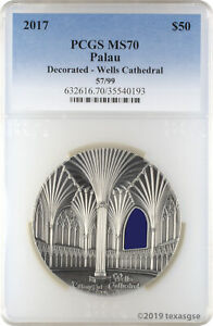 Click now to see the BUY IT NOW Price! 2017 $50 PALAU TIFFANY ART DECORATED WELLS CATHEDRAL KILO .999 SILVER PCGS MS70