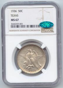 1936 TEXAS COMMEMORATIVE HALF DOLLAR NGC MS 67 CAC