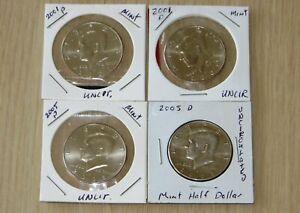 4 KENNEDY HALF DOLLARUNCIRCULATED  4P13 14 15 16  2001P 2001D 2005P 2005D