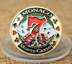MONACO MONTE CARLO CASINO POKER CARD GUARD COVER PROTECTOR BET GOLD PLATING COIN