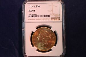 1904 S $20 LIBERTY HEAD GOLD DOUBLE EAGLE   NGC MS 62