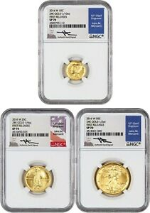 LOT OF 2016 W FIRST RELEASES 10C NGC SP70  MERCANTI SIGNATURE 3 COINS