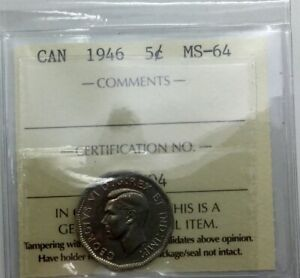 Click now to see the BUY IT NOW Price! CANADA 1946   NICKEL 5 CENTS  ICCS MS64 WELL STRUCK LUSTROUS NICE ORIGINAL