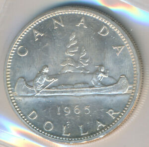 Click now to see the BUY IT NOW Price! CANADA ELIZABETH II  SILVER DOLLAR 1965 TYPE V   ICCS MS 64 HEAVY CAMEO