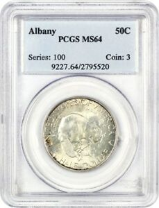 1936 ALBANY 50C PCGS MS64   LOW MINTAGE ISSUE   SILVER CLASSIC COMMEMORATIVE