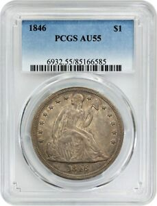 1846 $1 PCGS AU55   LOW MINTAGE ISSUE   LIBERTY SEATED DOLLAR
