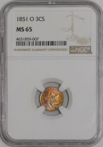 Click now to see the BUY IT NOW Price! 1851 O THREE CENT 3CS 941582 2 MS65 COLOR NGC