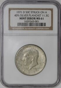 Click now to see the BUY IT NOW Price! 1971 D KENNEDY HALF 50C MINT ERROR STRUCK ON 40  SILVER PLANCHET 11.3G MS61 NGC