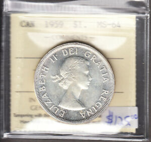 Click now to see the BUY IT NOW Price! 1959 CANADA   $1.00 SILVER DOLLAR   ICCS GRADED MS 64   ELIZABETH II   AJ26