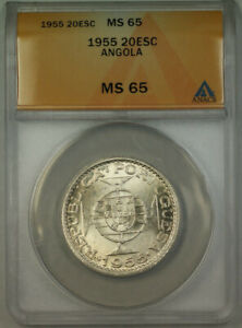 Click now to see the BUY IT NOW Price! 1955 ANGOLA 20 ESCUDOS SILVER COIN ANACS MS 65 GEM BU