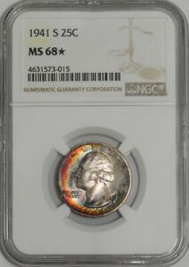 Click now to see the BUY IT NOW Price! 1941 S WASHINGTON QUARTER 25C 939158 1 MS68  COLOR NGC