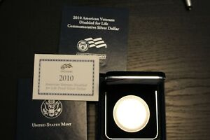 2010 W AMERICAN VETERANS DISABLED FOR LIFE PROOF SILVER DOLLAR WITH COA