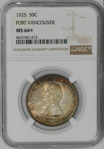 1925 FORT VANCOUVER 50C 938416 32 MS66  NGC  COLOR