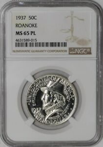 Click now to see the BUY IT NOW Price! 1937 ROANOKE 50C 939051 13 MS65 PL NGC
