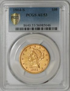 Click now to see the BUY IT NOW Price! 1864 S $10 GOLD LIBERTY 939555 1 AU53 SECURE PLUS PCGS