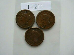 VINTAGE LOT 3X  USA  LARGE CENT 1850 51 53  TYPE BRAIDED HAIR     T1211