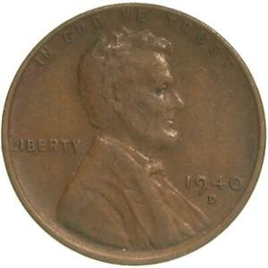 1940 D LINCOLN WHEAT CENT FINE PENNY FN