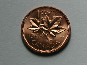 CANADA 1964 ONE CENT  1  QUEEN ELIZABETH II COIN   AU  RED WITH CONTACT MARKS