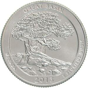 2013 S PARKS QUARTER ATB GREAT BASIN NATIONAL PARK CHOICE BU CN CLAD US COIN