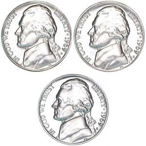 1969 D S S JEFFERSON NICKEL YEAR SET PROOF & BU US 3 COIN LOT