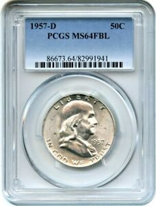 1957 D 50C PCGS MS64 FBL   FRANKLIN HALF DOLLAR