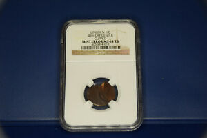 LINCOLN 1 CENT 45  OFF CENTER CUPPED MINT ERROR NGC MS63 RB
