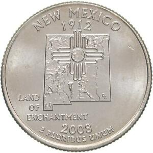 2008 D STATE QUARTER NEW MEXICO BU CN CLAD US COIN