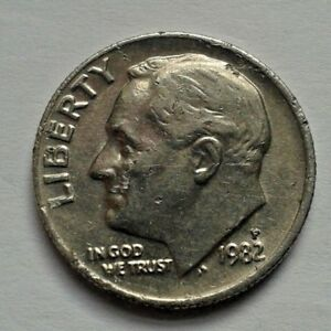 1982 ONE DIME USA COIN ROOSEVELT COIN UNITED STATES OF AMERICA