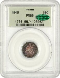 Click now to see the BUY IT NOW Price! 1849 10C PCGS/CAC PR 66  OGH  BEAUTIFUL  DIME    LIBERTY SEATED DIME