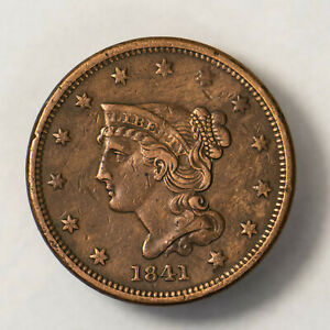 1841 BRAIDED HAIR 1C LARGE CENT    NICE DETAIL      EARLY US COPPER LOTR132