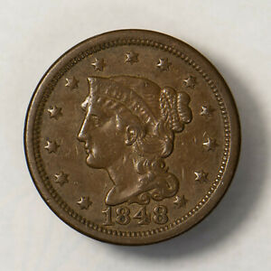 1848 BRAIDED HAIR 1C LARGE CENT    EARLY US COPPER LOTR135