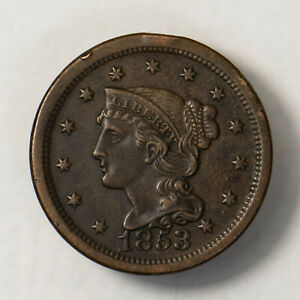 1853 BRAIDED HAIR 1C LARGE CENT    NICE HIGH GRADE    EARLY US COPPER LOTR139
