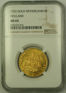 Click now to see the BUY IT NOW Price! 1763 NETHERLANDS HOLLAND 6 STUIVERS GOLD COIN NGC MS 63 CHOICE UNC