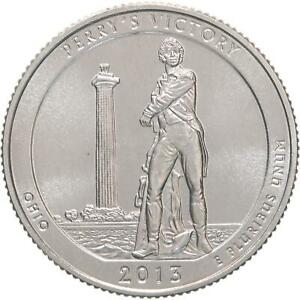 2013 D PARKS QUARTER ATB PERRY'S VICTORY PEACE MEMORIAL CHOICE BU CN CLAD COIN
