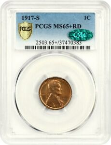 Click now to see the BUY IT NOW Price! 1917 S 1C PCGS/CAC MS65  RD   FINEST CAC    LINCOLN CENT   FINEST CAC