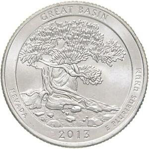 2013 P PARKS QUARTER ATB GREAT BASIN NATIONAL PARK BU CN CLAD US COIN
