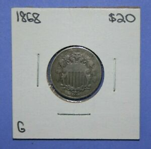 1868 SHIELD NICKEL FIVE CENT COIN     [079GCM]