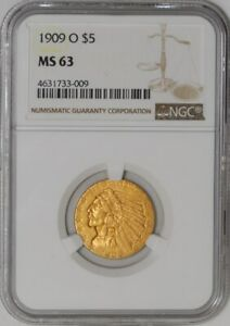 Click now to see the BUY IT NOW Price! 1909 O $5 GOLD INDIAN MS63 NGC   939380 1
