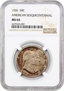 1926 SESQUICENTENNIAL 50C NGC MS64   SILVER CLASSIC COMMEMORATIVE