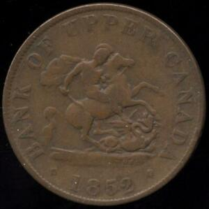1852 BANK OF UPPER CANADA HALF PENNY COPPER BANK TOKEN ST. GEORGE SLAYING DRAGON
