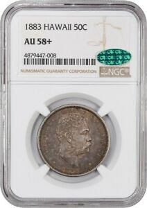 Click now to see the BUY IT NOW Price! 1883 HAWAII 50C NGC/CAC AU58  HAWAII TERRITORY COINAGE