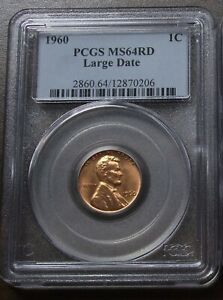 1960 PCGS MS64 RD LARGE DATE LINCOLN MEMORIAL CENT